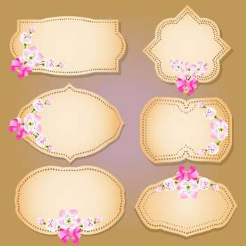 set of floral labels, banners and emblems - vector gratuit #134950