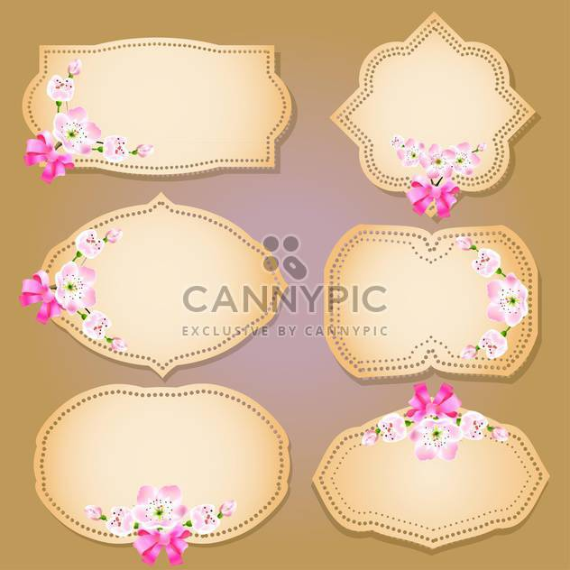 set of floral labels, banners and emblems - Free vector #134950
