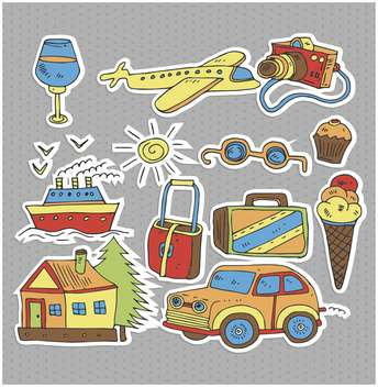 cartoon items set for travel illustration - vector gratuit #135010