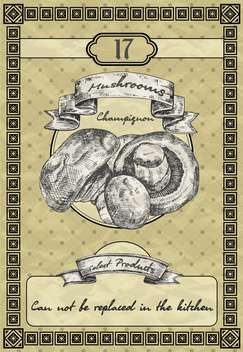 kitchen banner with mushrooms in vintage style - vector #135060 gratis