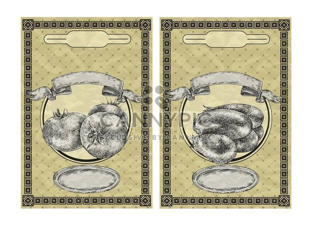 vintage banners with tomato and eggplant - Free vector #135080