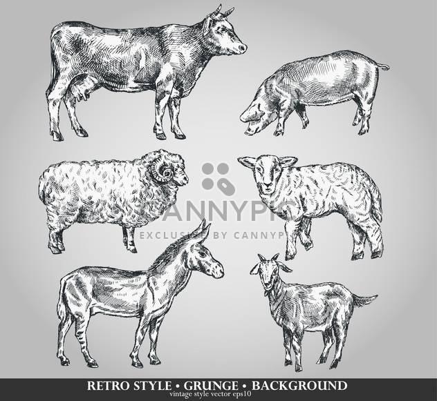 Domestizierte Tiere Skizze Set im retro-Stil - Free vector #135100