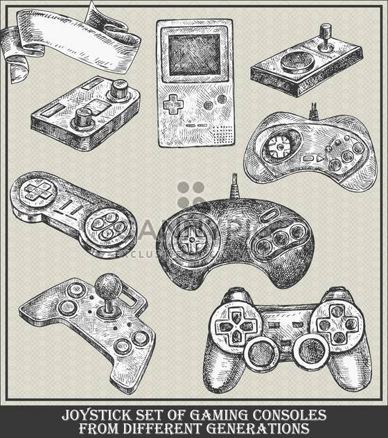 different generations joystick set of gaming consoles - Free vector #135110