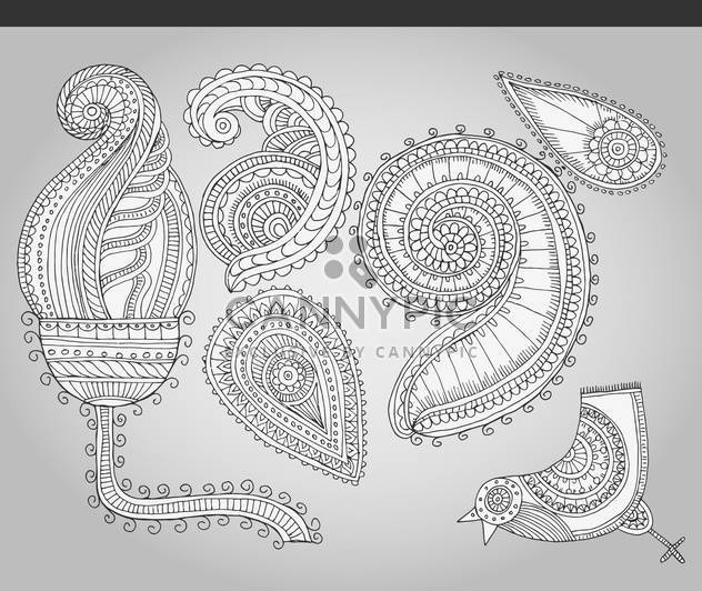 fantastic flowers in folk style vector illustration - Free vector #135160