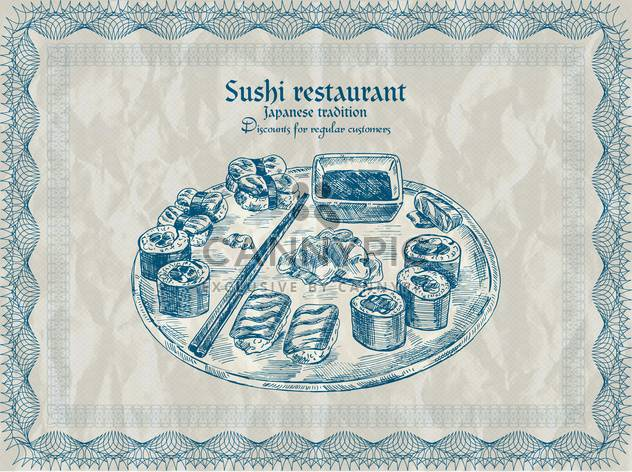 Jahrgang Sushi-Restaurant-Banner-Vektor-illustration - Kostenloses vector #135200