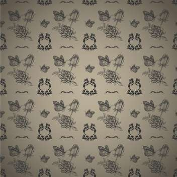 seamless pattern roses and butterflies vector illustration - Free vector #135270