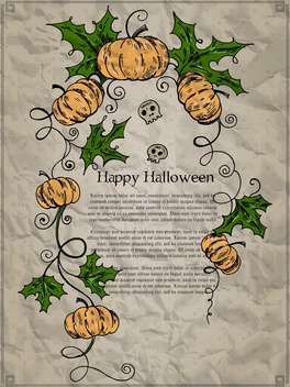 Halloween holiday card with pumpkins and skulls - vector gratuit #135280