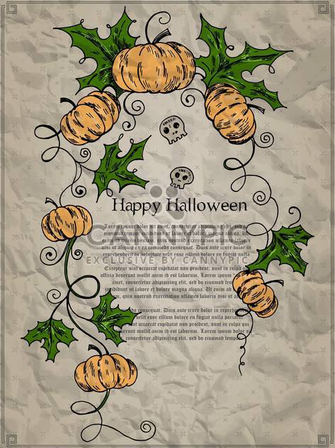 Halloween holiday card with pumpkins and skulls - Free vector #135280