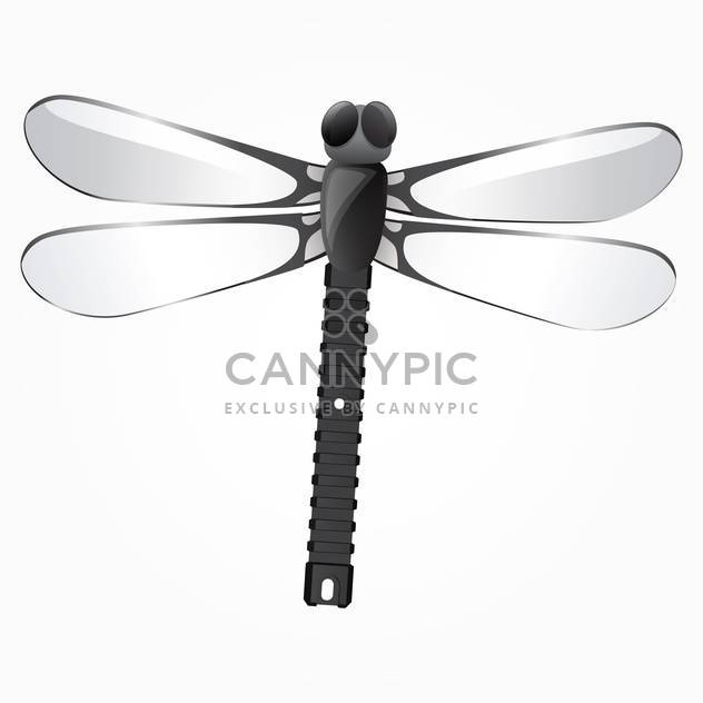 Vector illustration of beautiful black dragonfly on white background - Free vector #125740