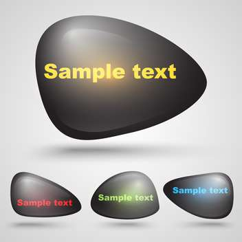 Vector illustration of black stone shape buttons with place for text - vector #125750 gratis