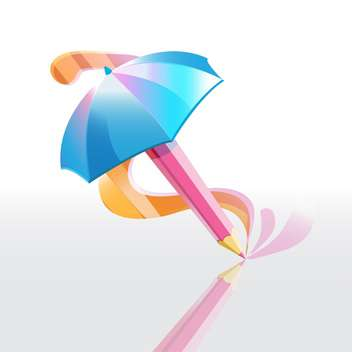 Vector illustration of pencil umbrella with colorful reflection on white background - Free vector #125780
