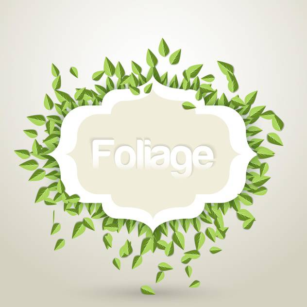 Vector illustration of green leaves frame on white background - vector gratuit #125810