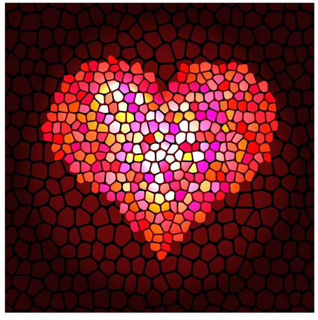 Vector illustration of art mosaic heart background for valentine card - Free vector #125820