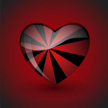 Vector background with romantic heart with black stripes on red background - vector gratuit #125880