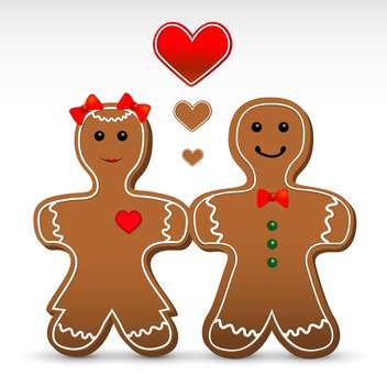 Vector illustration of romantic gingerbread boy and girl cookies - vector gratuit #125900