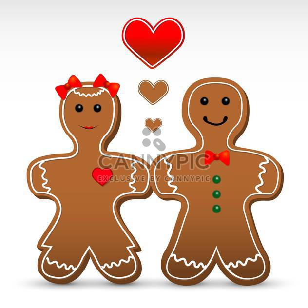 Vector illustration of romantic gingerbread boy and girl cookies - Free vector #125900