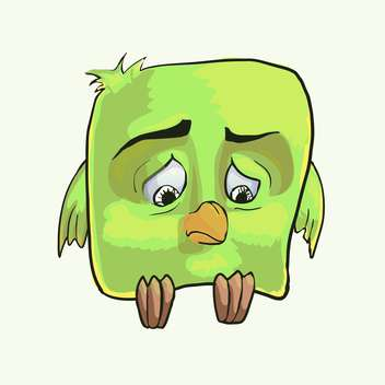 colorful illustration of sad cartoon green bird on white background - vector gratuit #125950