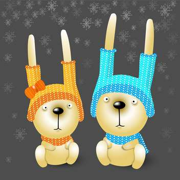 Vector illustration of cute two christmas rabbits in hats - Free vector #125960