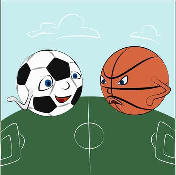 Vector illustration of cartoon sport balls on green field - vector gratuit #125980