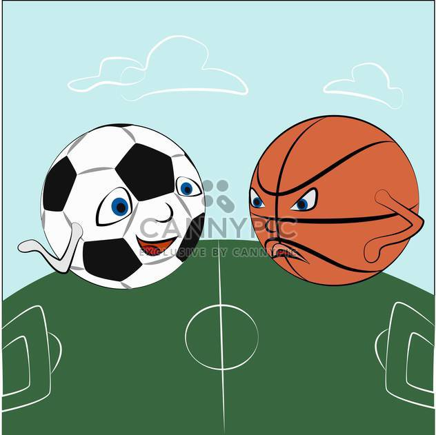 Vector illustration of cartoon sport balls on green field - Free vector #125980