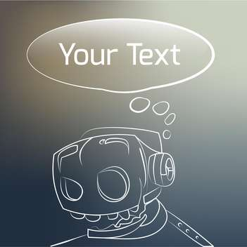 Vector background with robot head on black background and speech bubble - vector gratuit #126030