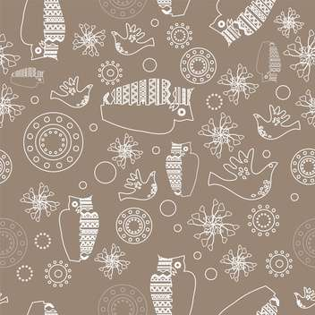 Vector gray color folk background with white owls - vector #126100 gratis