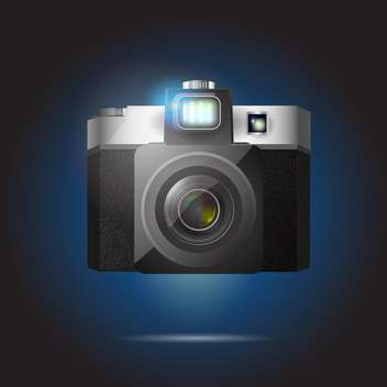 Vector illustration of black retro camera on dark background - vector gratuit #126140
