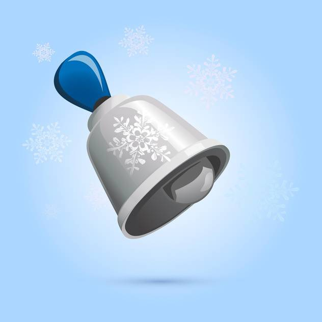 Vector illustration of christmas silver bell on blue background with snowflakes - бесплатный vector #126150