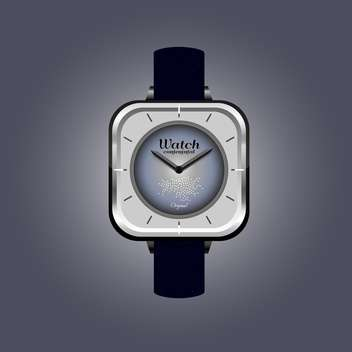 Vector illustration of analog male wrist watch on dark grey background - vector #126190 gratis