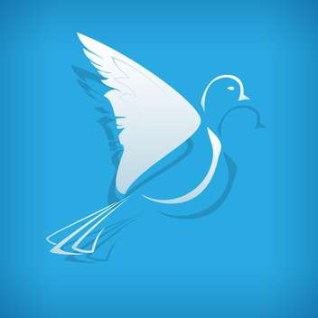 Vector illustration of white paper origami dove on blue background - vector gratuit #126220