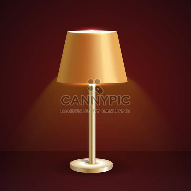 Vector illustration of retro table lamp on brown background - Free vector #126290