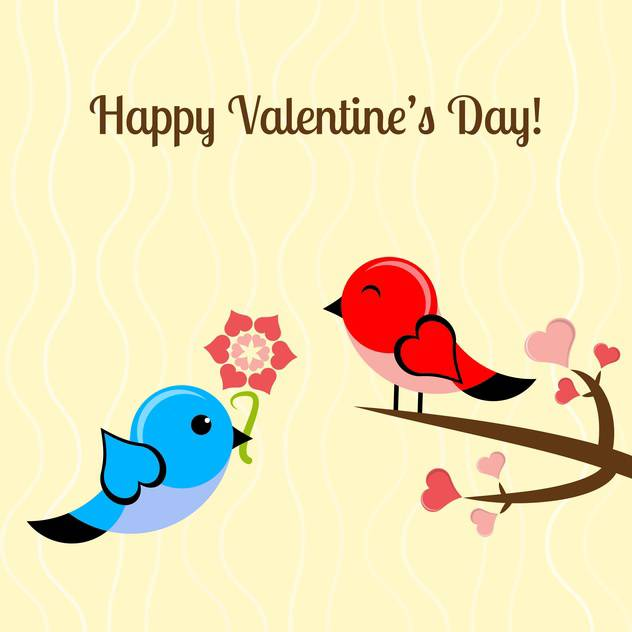 Vector illustration of lovely birds and flowers for Valentine's day card - vector #126330 gratis