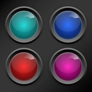 Vector set of colored round buttons on dark grey background - vector gratuit #126490