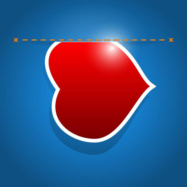 Vector illustration of red heart with stitch on blue background - vector gratuit #126540