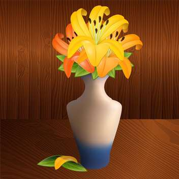 Vector illustration of vase with yellow lilies on brown background - бесплатный vector #126550