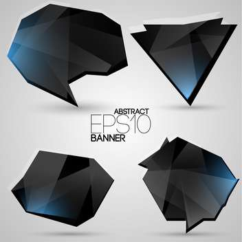 Vector set of black futuristic banners on white background - vector gratuit #126560