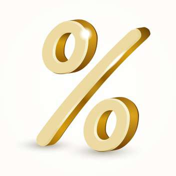 Vector illustration of gold percent sign isolated on white background - Free vector #126590