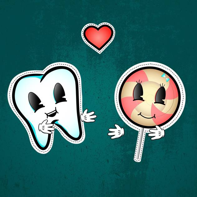 Vector illustration of love between tooth and lollipop on green background - vector #126680 gratis