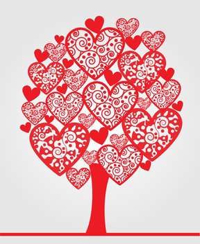 love tree made of hearts on white background - vector gratuit #126720
