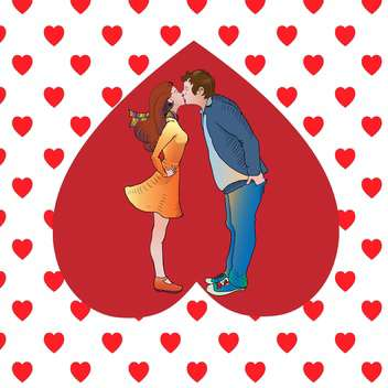 Vector illustration of kissing couple in heart - Free vector #126730