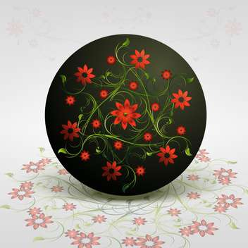 Vector round shaped floral background with red flowers on grey background - Free vector #126750