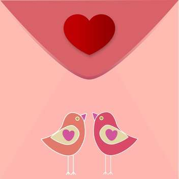 Vector greeting heart with birds in love for valentine card - бесплатный vector #126780