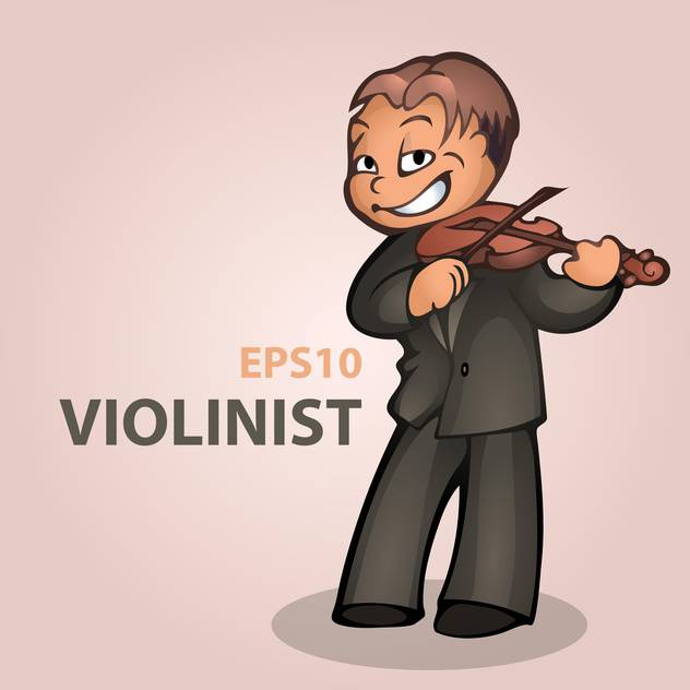 Vector cartoon violinist on pink background - бесплатный vector #126790
