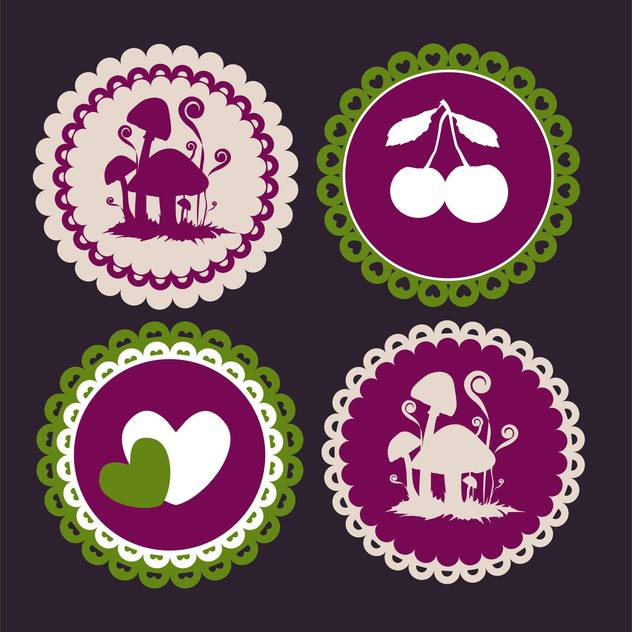 Vector vintage round frames on black background - vector gratuit #126850