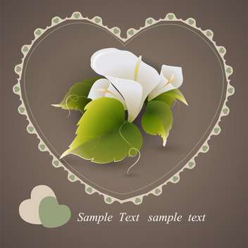 Vector heart with calla lily flowers and green leaves on grey background - бесплатный vector #126900