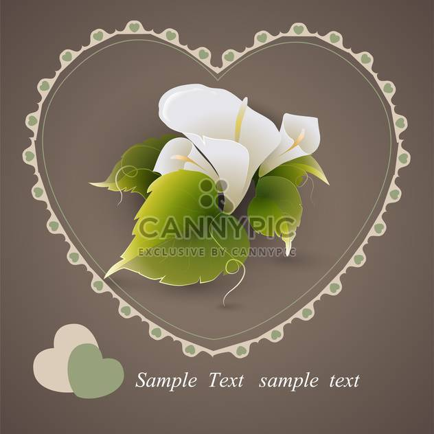 Vector heart with calla lily flowers and green leaves on grey background - Free vector #126900