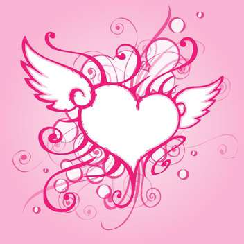 Vector background with elegant abstract heart on pink background - Free vector #126960