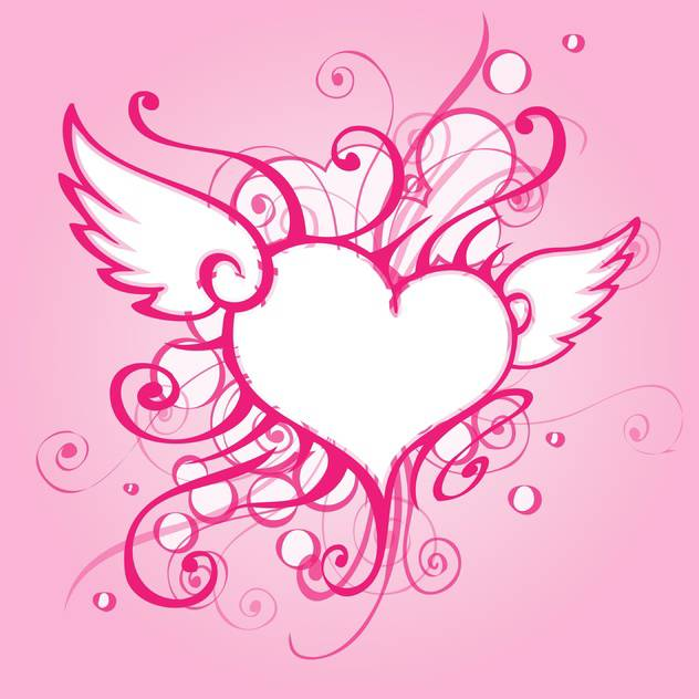 Vector background with elegant abstract heart on pink background - vector gratuit #126960
