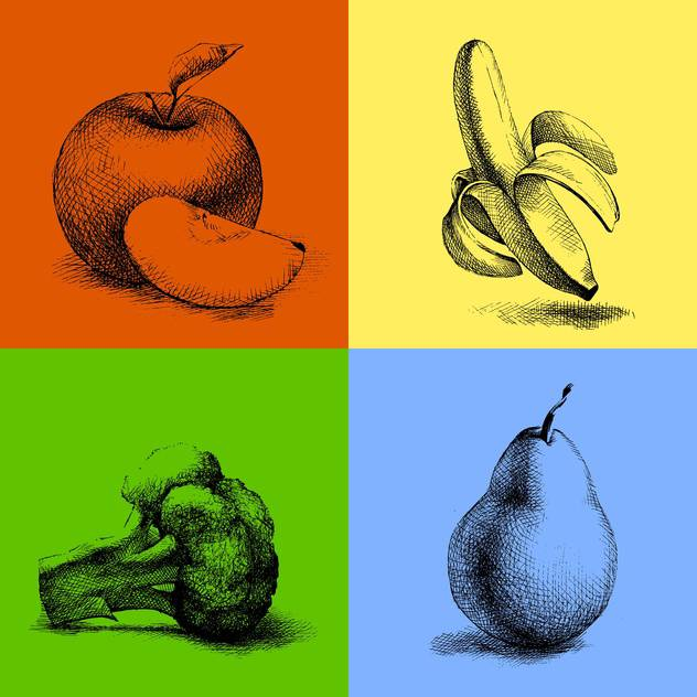 Vector sketch illustrations of fruits and vegetables - vector gratuit #127000