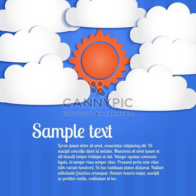 Vector blue background with white clouds and sun in sky - Kostenloses vector #127040